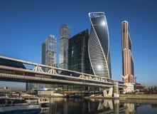 Geschäftszentrum-Moskau-Stadt bei Sonnenaufgang Stockbild