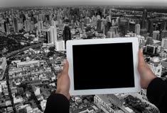 Geschäftszentrum und Tablet Lizenzfreie Stockfotos