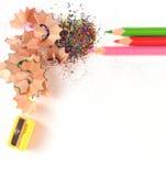 Geschärfte Bleistifte und Sägespäne Lizenzfreies Stockfoto