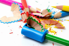 Geschärfte Bleistifte und Schärfen Stockfoto