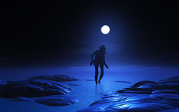Geschöpf des Zombies 3D am Mondschein Stockfotografie