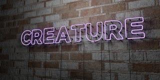 GESCHÖPF - Glühende Leuchtreklame auf Steinmetzarbeitwand - 3D übertrug freie Illustration der Abgabe auf Lager lizenzfreie abbildung