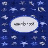 Geschöpfe von Seemuscheln auf einem dunkelblauen Hintergrund lizenzfreie abbildung