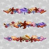 Geschöpfe von Seemuscheln Drei horizontale Sätze stock abbildung