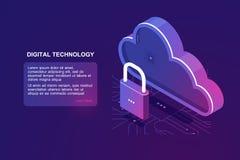 Geschützte Datei auf Fernwolkenspeicher, isometrische Wolkenikone, gespeicherter Internet-Dienstanbieter, Zuverlässigkeitsdokumen lizenzfreie abbildung