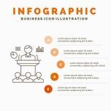 Gesch?ft, Konferenz, Versammlung, Darstellung, Seminar Infographics-Schablone f?r Website und Darstellung Linie graue Ikone mit stock abbildung