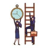 Gesch?ftsfrauen mit Treppen- und Uhravataracharakter vektor abbildung