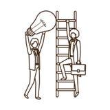 Gesch?ftsm?nner mit Charakter der Treppe und des Gl?hlampeavataras lizenzfreie abbildung
