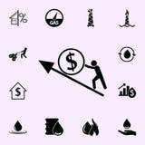 Gesch?ftsmann, der eine M?nze des Gelddiagrammpfeiles herauf Ikone tr?gt Gewinnikonen-Universalsatz f?r Netz und Mobile lizenzfreie abbildung