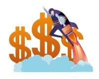Gesch?ftsmann mit Dollarzeichen-Avataracharakter stock abbildung