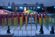 Geschakeerde de winterdecoratie in het centrale park van Moskou Royalty-vrije Stock Afbeelding