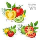 Geschakeerde rijpe verse tomaten Royalty-vrije Stock Foto's