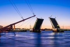 Gescheiden Paleisbrug tijdens de Witte Nachten wiev op Kuntskamera, St. Petersburg, Rusland 3 juli, 2010 Royalty-vrije Stock Afbeelding