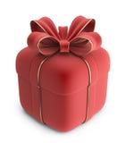 Geschenk 3D. Roter Kasten mit Bogen.   Stockbilder