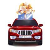 Geschenk auf Auto Stockbild