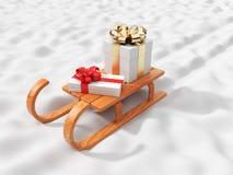 Geschenk auf dem hölzernen Schlitten, gehend auf Schnee. Weihnachten 3D Stockfotos
