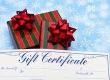Geschenk-Bescheinigung für Weihnachten Stockbilder
