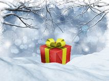 Geschenk 3D in der schneebedeckten Landschaft Stockfoto