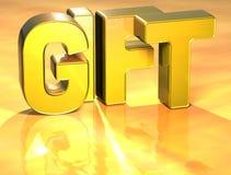 Geschenk des Wort-3D auf Goldhintergrund Lizenzfreie Stockfotos