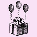 Geschenk in einem Kasten mit Ballonen stock abbildung