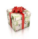 Geschenk eingewickelt in den Dollarscheinen Stockbild