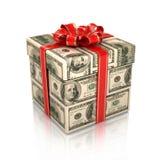 Geschenk eingewickelt in den Dollarscheinen Lizenzfreies Stockfoto