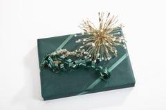 Geschenk eingewickelt mit grünem Packpapier stockbilder