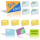 Geschenk-Gutschrift-Schuldposten-Scheckkarten Lizenzfreies Stockbild