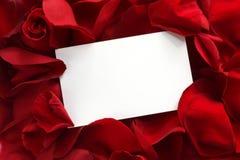 Geschenk-Karte auf roten Rosen-Blumenblättern Stockbilder
