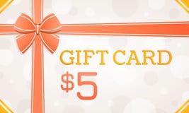 Geschenk-Karte, Geschenkgutschein - 5 Dollar lizenzfreie abbildung