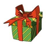 Geschenk-Kasten mit Farbband und Bogen Auch im corel abgehobenen Betrag Stockbild