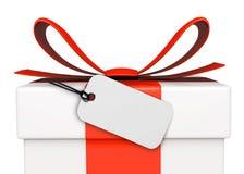 Geschenk-Kasten mit Marke Stockbild