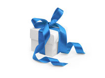 Geschenk mit blauem Farbband Stockfotos
