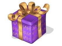 Geschenk mit Goldfarbband und -bogen Lizenzfreie Stockfotografie