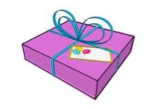 Geschenk mit Grußkarte Stockfoto