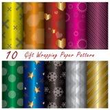 10 Geschenk-Packpapier-Muster Stockfotografie