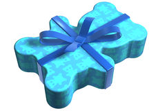 Geschenk teddy blau. A teddy packaged as a gift surprise on a white base Royalty Free Stock Photography