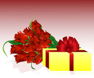 Geschenk und Rosen Lizenzfreie Stockbilder