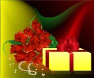 Geschenk und Rosen Stockbild