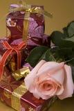 Geschenk und stieg lizenzfreie stockfotos