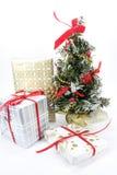 Geschenk und Weihnachtsbaum lizenzfreies stockfoto
