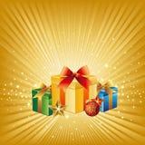 Geschenk und Weihnachtshintergrund Stockfotos