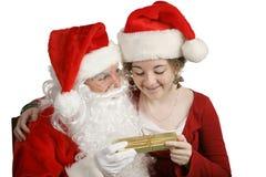 Geschenk von Weihnachtsmann Stockfotos