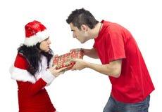 Geschenk von Weihnachtsmann Stockbilder