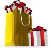Geschenkbeutelschluß und -geschenke Stockbilder