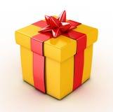 Geschenkbox des Gelb-3d - Stockbilder