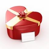 Geschenkbox des Herz-3d - lokalisiert Stockfoto