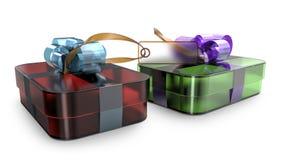 Geschenkbox eingewickelte Bandbogendekoration Lizenzfreies Stockfoto