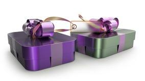Geschenkbox eingewickelte Bandbogendekoration Lizenzfreies Stockbild