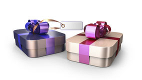 Geschenkbox eingewickelte Bandbogendekoration Lizenzfreie Stockfotografie